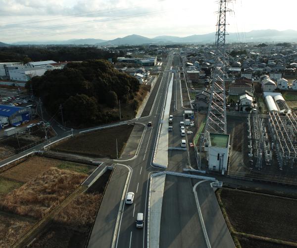 東三河環状線(大崎工区)の4車線化に向けた道路改良工事2